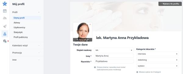 logowanie i edycja profilu